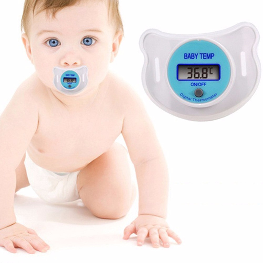 ABWE Blue Infants LED Pacifier Thermometer Baby Health Safety Temperature Monitor Kids Display Centigrade