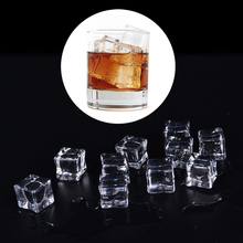 3 Sizes Clear Square  Acrylic Ice Cubes Crystal 10pcs Fake Artificial Home Display Decor