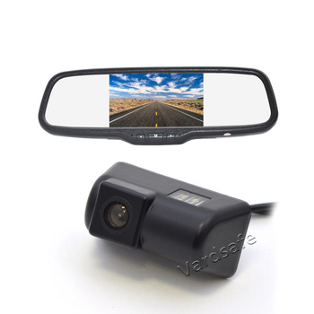 Vardsafe VS302C | License Plate Light Reverse Backup camera + 5 Inch Clip-on Rear View Mirror Monitor for Ford Transit Connect