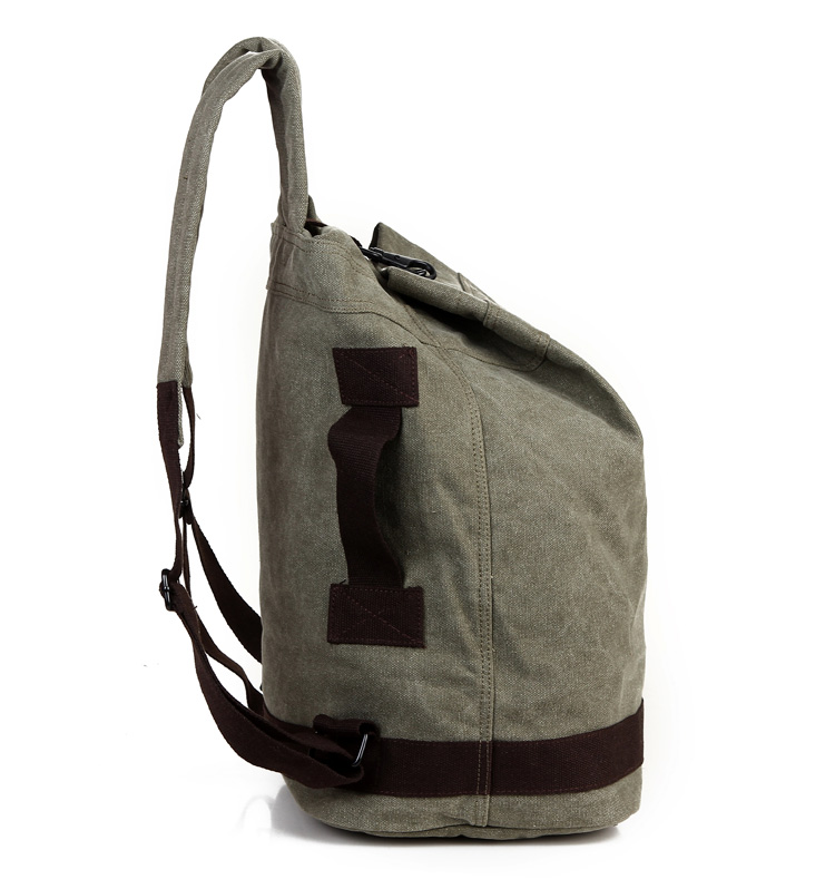 Male Fashion Casual Canvas Backpack Middle School Students Book Bags Travel Large Capacity Backpack Man Bucket Bag