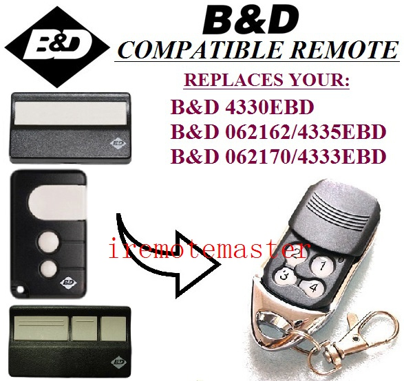 For BND replacement remote control 4330EBD,062162/4335EBD,062170/4333EBD free shipping twindoor replacement remote control 433mhz free shipping