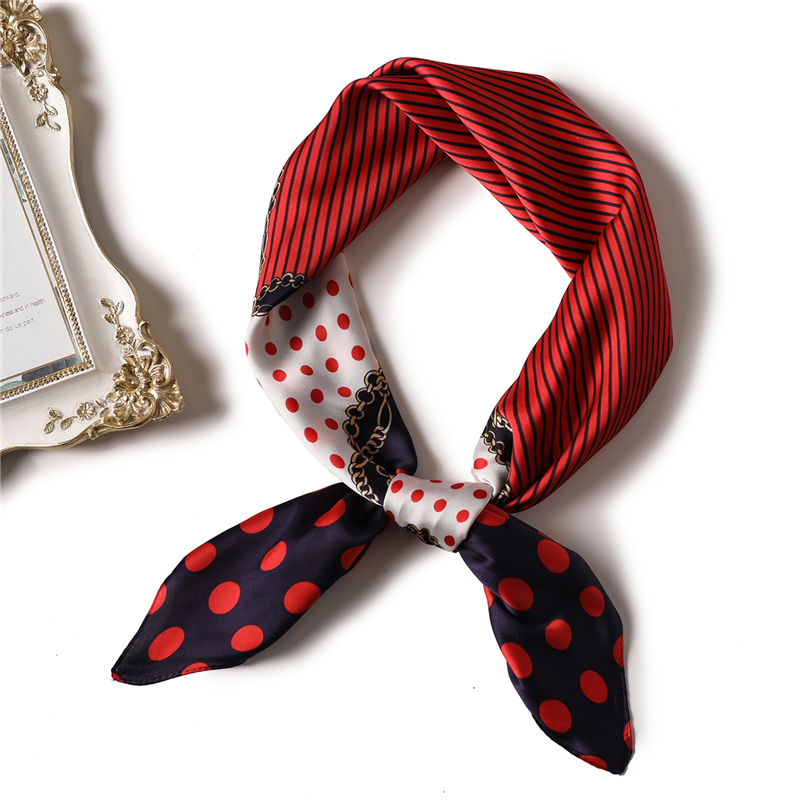 Small Fashion Square Scarf Luxury Brand Elegant Women Square Silk Head Neck Feel Satin Scarf Skinny Retro Hair Tie Band 70x70cm in Women 39 s Scarves from Apparel Accessories