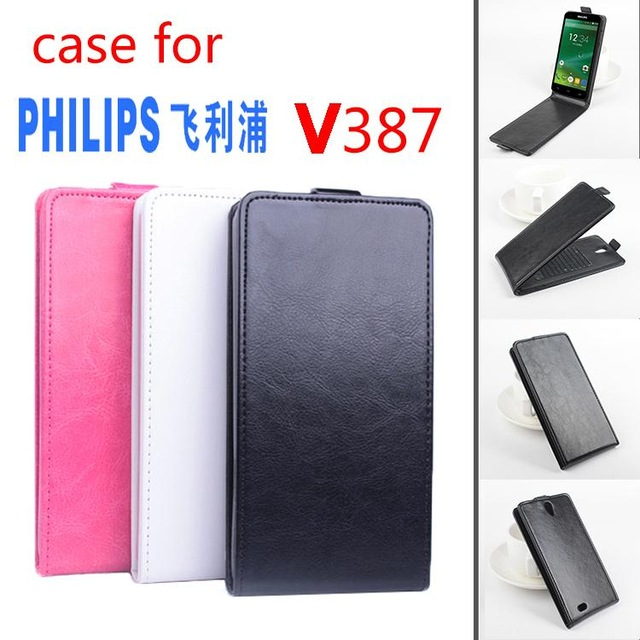 Leather case For <font><b>Philips</b></font> Xenium <font><b>V387</b></font> Flip cover housing case For <font><b>Philips</b></font> Xenium V 387 Phone cases covers Phone Bags Fundas shell image