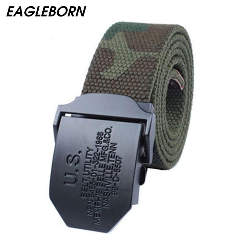 2019 Brand Hot US Men Canvas Belt Military Equipment Cinturon Western Strap Pánské pásky Luxusní pro muže Taktické značky Cintos