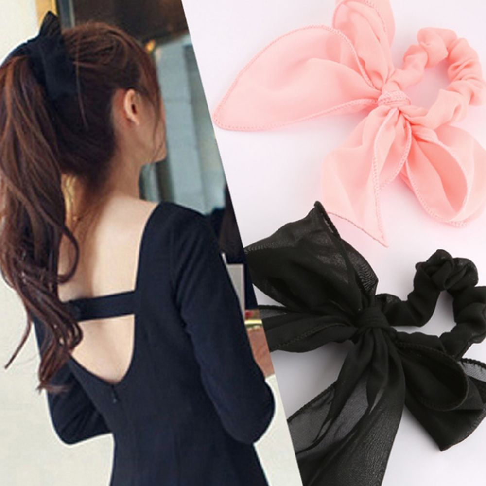 Women Hair Accessories Black Elegant Fabric Head Rope New Chiffon Large Bow Hair Rubber Band Girl's Korean Version Headwear