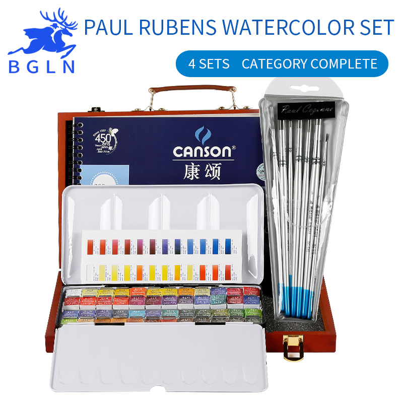 Paul Rubens Solid Water Color Paint 24/48 Colors Solid Water Color+Watercolor Brush+Watercolor Book+Storage Box Art Supplies van gogh 24 colors solid watercolor pigment with nature sponge and paintbrush plastic case water color paint art supplies