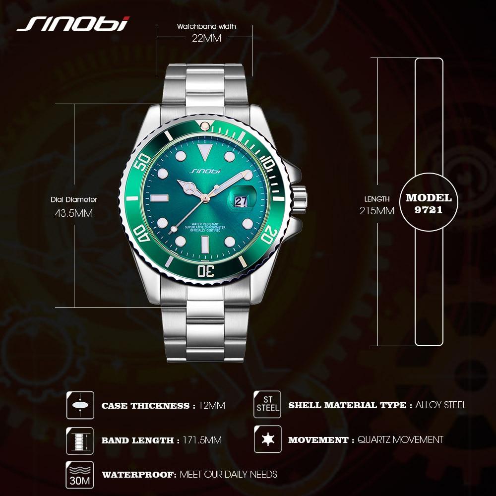 SINOBI Watch Men Golden Watches Luminous Pointer Stainless Steel Watchband Luxury Male Business Casual Geneva Quartz Wristwatch