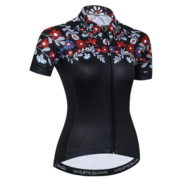 Weimostar Breathable Cycling Jersey woman Summer Black Flowers Cycling  Clothing girl Short Sleeve mtb Bicycle Bike Jersey Shirt 49c1c3446