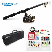 NEW Lure Rod Set Spinning Rod Fishing Reel Combos Full Kit 1.8M-3.0M Fishing Rod Pole Reel Line Lures Hooks Portable Bag