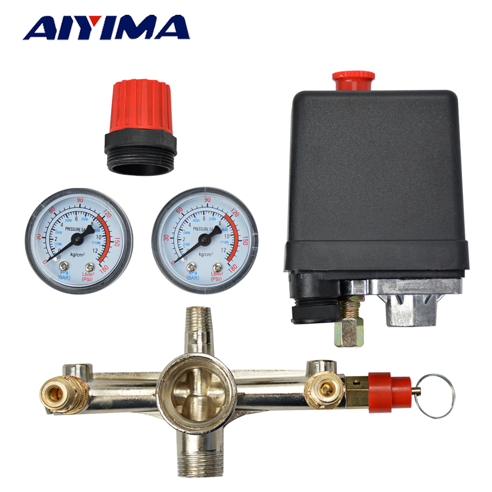 pressure Switch Air Compressor Valve Single hole Relief Regulator pressure switch stand Gauges 120psi air compressor pressure valve switch manifold relief regulator gauges