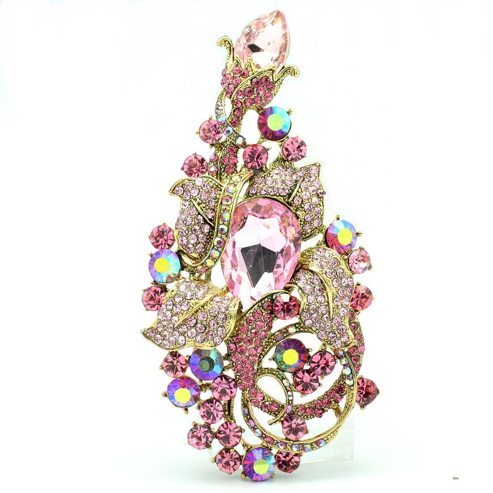 Rhinestone Crystal Big Flower Brooches Broach Pin Women Jewelry Accessories Birthday Gift 6406