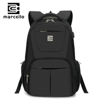 MARCELLO Laptop Backpack Men Travel Bags 2017 USB Charging Multifunction Rucksack Black School Backpacks For Teenagers