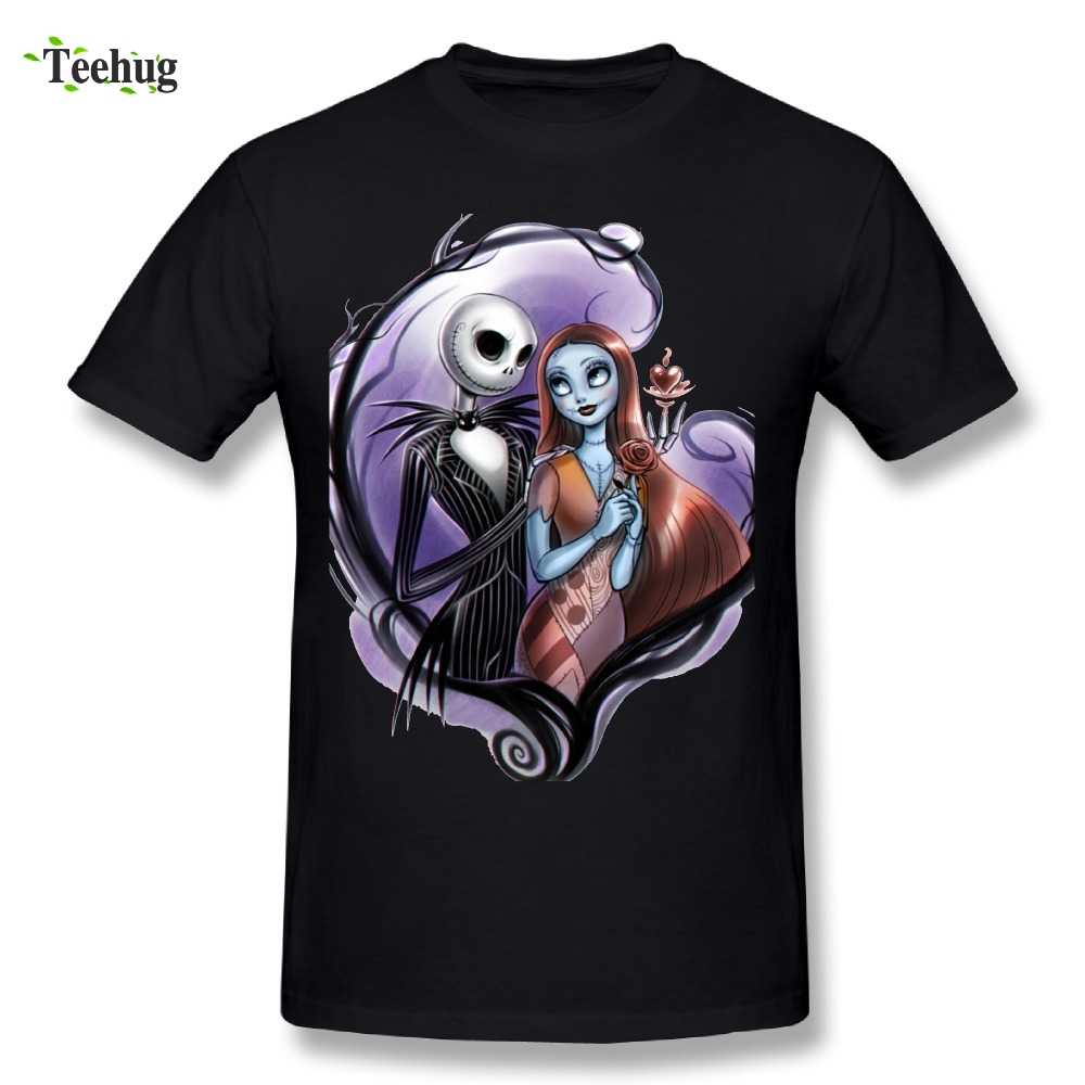 Grafische Mannen De Nightmare Before Christmas Jack Skellington T-shirt Romantische Jack Skellington en Sally Stijlvolle T-shirt