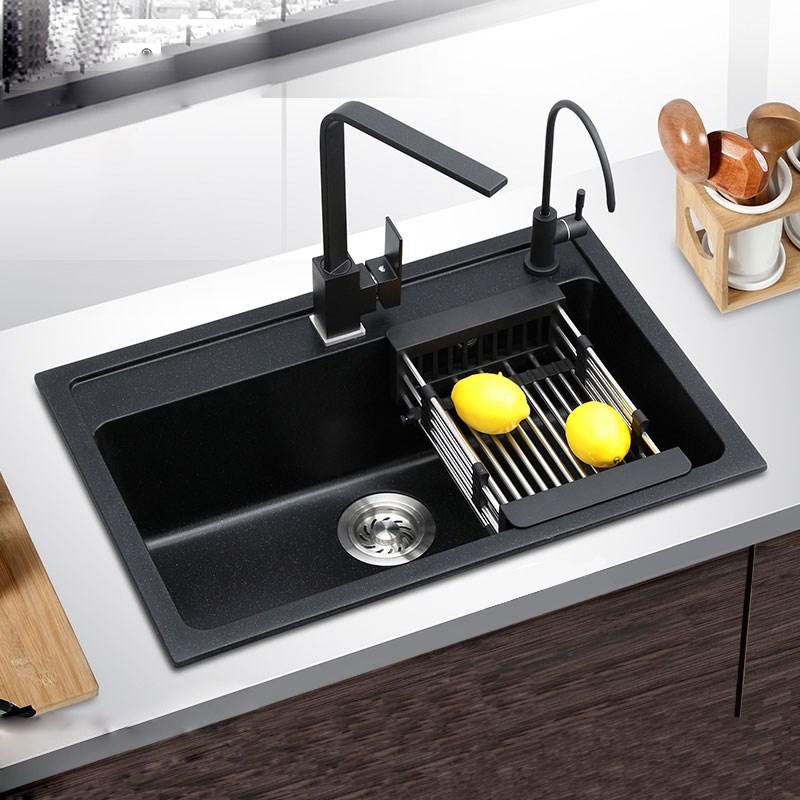 Black quartz stone kitchen sink single groove Handmade ...
