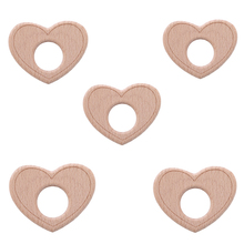 Baby Teether Natural Beech Wooden DIY Heart Shape Ring Craft Children Chew Toys