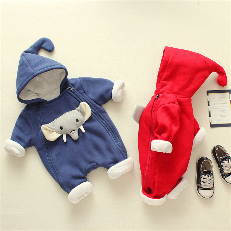 Brand New Cotton Infant Newborn Baby Boy Girl Hooded   Romper   Jumpsuit Autumn Winter Clothes Cartoon elephant Long Sleeve Outfit