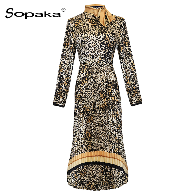 2018 Autumn Full Sleeve Women Dresses High Quality Khaki Leopard Printed Empire Bow Runway Design Midi Dress