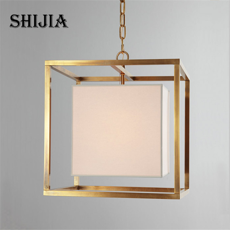 Pendant Lights American Country Iron Cloth Square Lamps Vintage Lighting for Living room Restaurant Bedroom Cafe Meeting Room retro country pendant lights loft vintage lamp restaurant bedroom dining room pendant lamps american style for living room