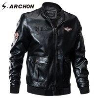 S ARCHON Autumn Winter Military Bomber Jacket Men Windbreaker PU Leather Pilot Tactical Jacket Coat Air