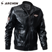 S ARCHON Autumn Winter Military Bomber Jacket Men Windbreaker PU Leather Pilot Tactical Jacket Coat Air