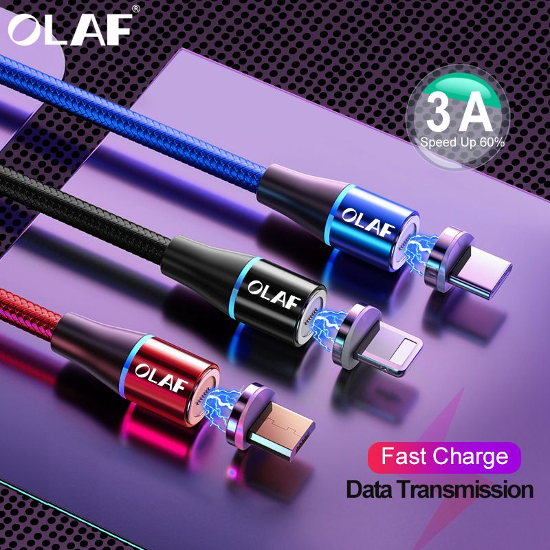 OLAF 2M 3A Magnetic Cable Quick Charge 3.0 Micro USB Charger Type C Fast Charging For IPhone 7 XS Samsung S8 Magnet Phone Cables