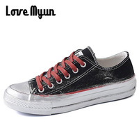 2018 New Graffiti Style Women Canvas Shoes Girls Student Breathable Looks Dirty Shoes Canvas Flats Women