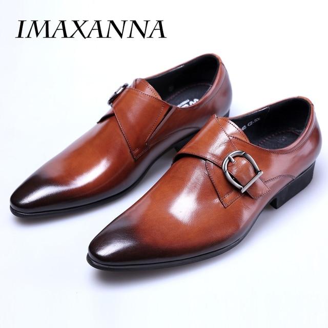 IMAXANNA New Men Leather Shoes Man Flat Classic Men Dress Shoes Leather Italian Formal Shoes Men Oxford Plus Size 38-48 1