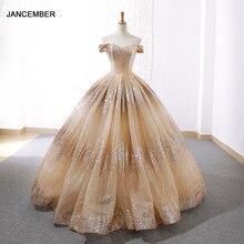 J66659 jancember evening dresses off the shoulder lace up back floor length ball gown prom party dresses vestido de festa 2019
