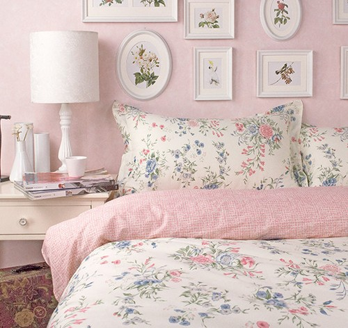 American Rustic Princess Pink Floral Bed Sets 4pc Queen