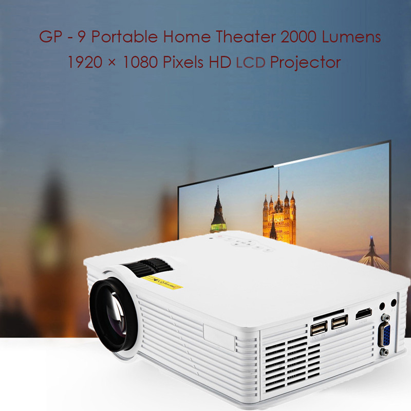 GP9 GP-9 Portable Mini LCD LED Projector 2000 Lumens 1920 x 1080 Home Theater Cinema GP 9 Multimedia Full HD HDMI Proyector 3500 lumens home projector entertainment cinema 1024 768pixels updated free hdmi full color office projector game proyector