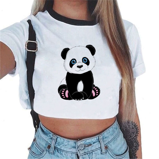 08e9bb7e216 Female t-shirt Harajuku Panda Printing Crop Top Short Sleeves O-neck t  shirt women Casual Summer Women Tees