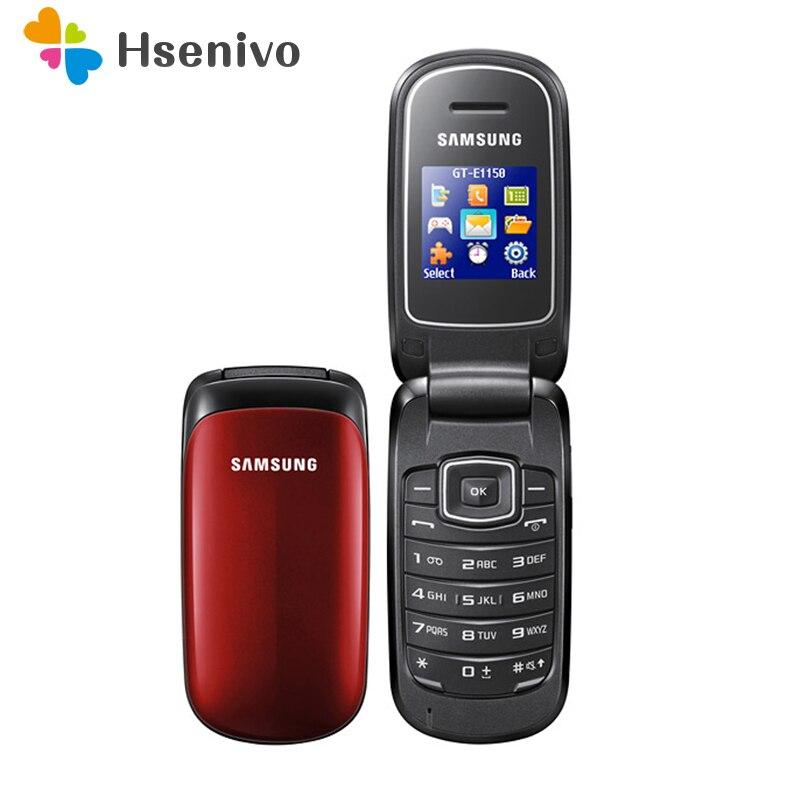 E1150 Original Samsung E1150 E1151 GSM Desbloqueado 1.43 polegadas 800 mAh Mini-SIM Multi-cor Recuperado Móvel Da Aleta telefone