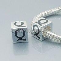 1 pçs/lote europeu 925 prata alfabeto Q contas serve encantos pulseira estilo Chamilia Biagi