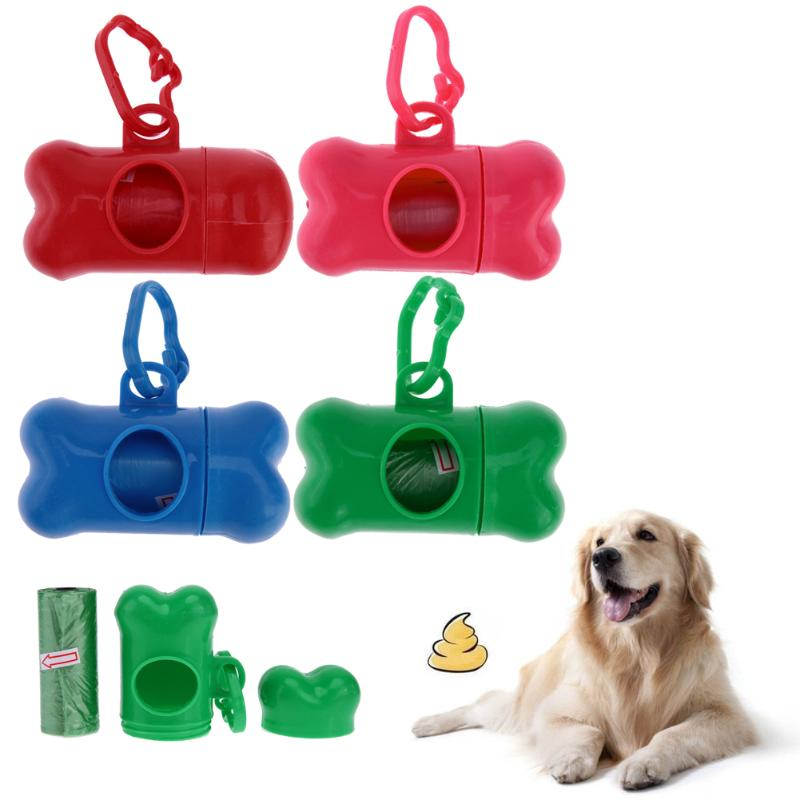 Bone Shape Pet Dog Poop Bag Holder Dispenser With 1 Roll Shit Bag Storage Box Clean Up Waste Bag Carrier