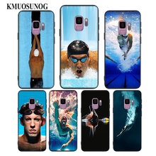 For Samsung Galaxy Note 9 8 S9 S8 Plus S7 S6 Edge S5 Mini Black Soft Silicone Phone Case Michael Phelps Swimming Style
