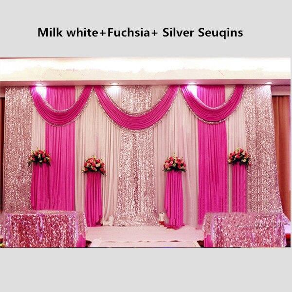3X6 M Shiny Fuchsia Wedding Drape Achtergrond Gordijn Met Pailletten ...