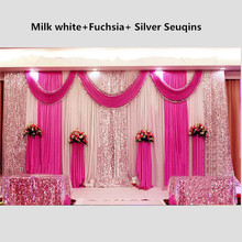 3X6M Shiny Fuchsia Wedding Drape Backdrop Curtain With Sequins Swag Pleated For Wedding Event&Party&Banquet Decoration