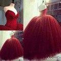 2016 Borgonha Barato do Assoalho-Comprimento Do Vestido Para 15 Anos Querida Vestidos Quinceanera Com Beading Voltar Lace Up Vestido de Debutante