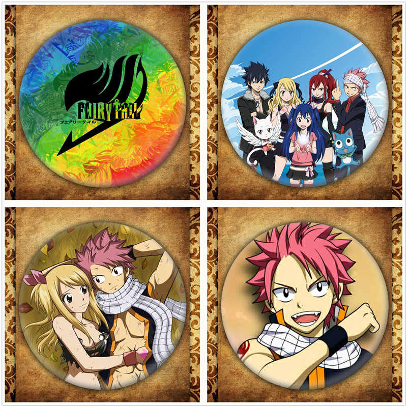 Anime Fairy Tail Display Badge Japanese Cartoon Figure Natsu Lucy Brooch Pins Jewelry Collection Bags Clothes Decoration