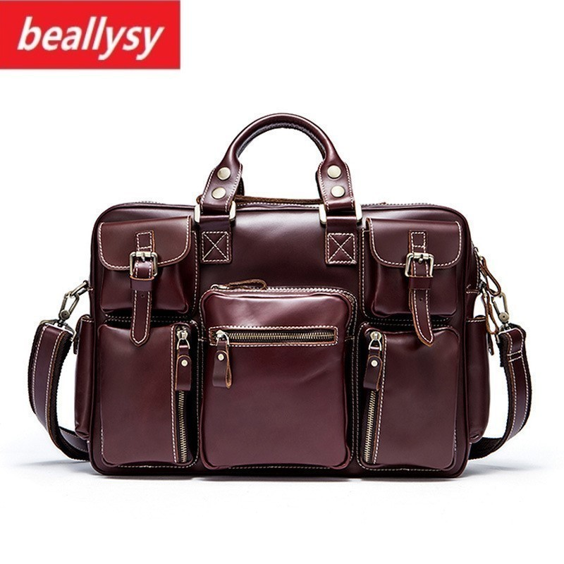 Brand New Men's genuine leather briefcase Big real leather laptop tote bag Cow leather business bag double layer messenger bag