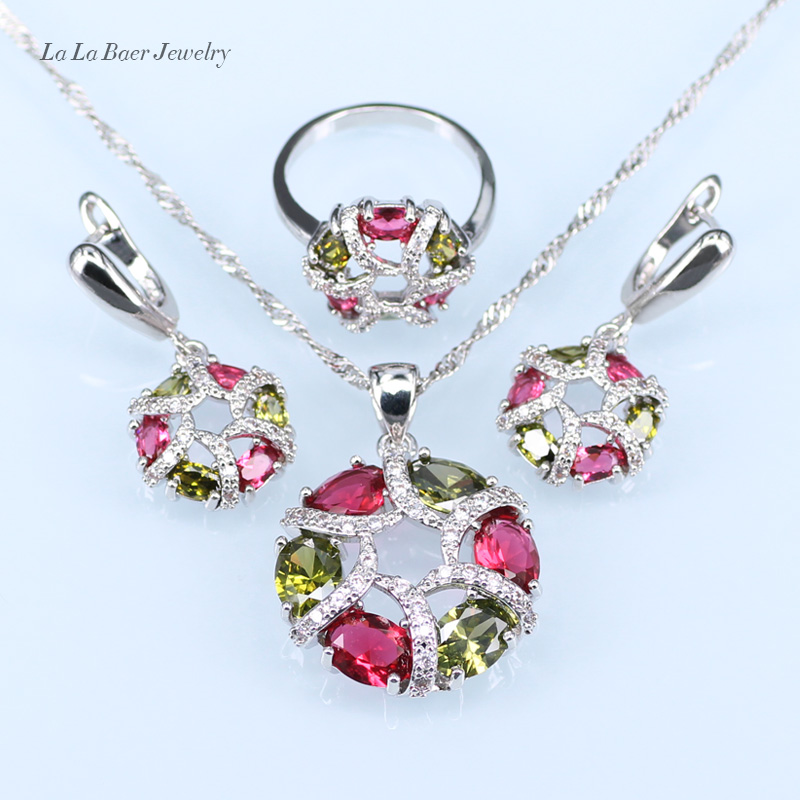 Bridal Jewelry Sets L&b Green Created Emerald Red Imitation Garnet Pendant/necklace/earrings/ring For Women Silver 925 Jewelry Sets Convenience Goods Wedding & Engagement Jewelry