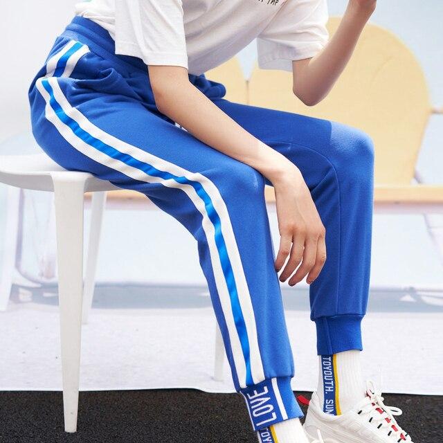 Toyouth Long Sport Leisure Pants New Arrival 2019 Women Bottoms Double Striped Jogger Harem Pants Sweatpants Sportswear Trousers