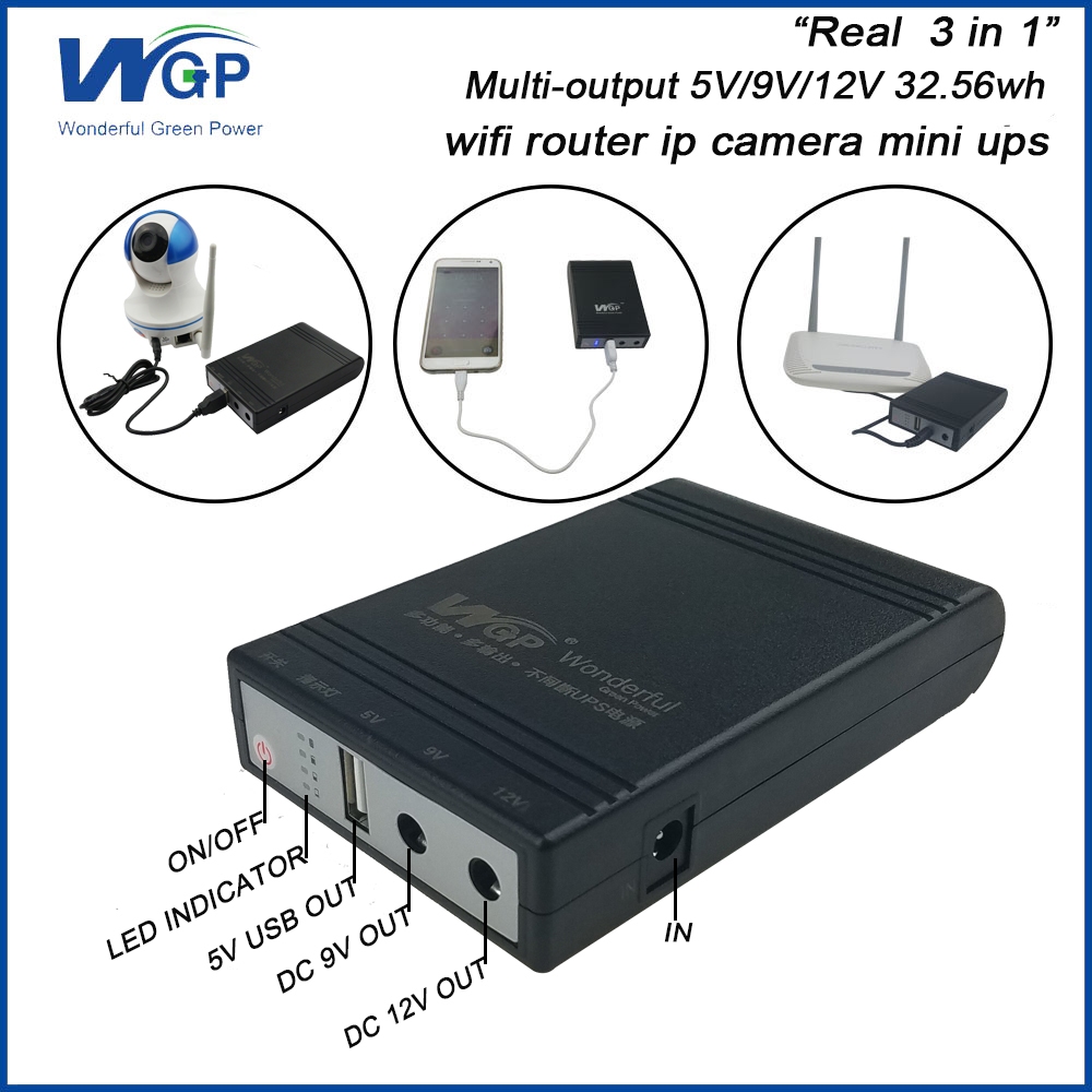 Wifi Router Ip Camera UPS Price 18650 <font><b>Lithium</b></font> <font><b>Battery</b></font> Backup Power Supply DC Online Portable <font><b>5V</b></font> 9V 12V 1A Mini UPS For CCTV