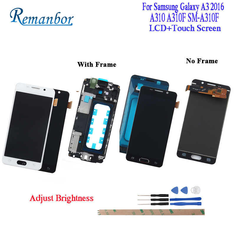 Remanbor Pour Samsung Galaxy A3 2016 A310 A310F SM-A310F écran lcd et écran tactile Avec Cadre Distinct 4.7