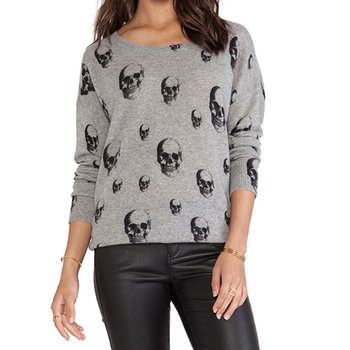 Women Fashion Soft Streetwear Loose Sweater Print Skulls Warm Long Sleeve