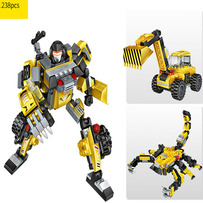 City Building Blocks Sets Height Transformation Deformation Robot Toy Action Figures Toys Bricks Star wars car for boy
