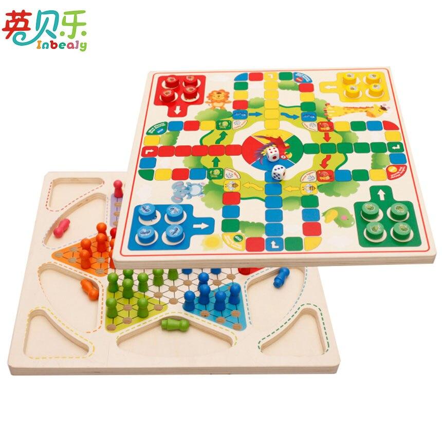 Montessori En Bois Divertissement Jouets Puzzle Multicolore Dames Et Échecs de Vol 2 en 1 Jouets Pour Enfants Adultes Drôle Famille Jeu