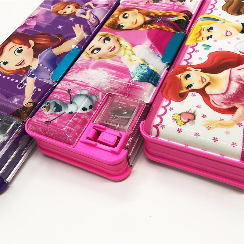 Disney princessautomatic creative Stationery storage boxes school pencil case plastic 220909 school gifts boxes pupil men multifunctional creative disney child pencil box primary school student