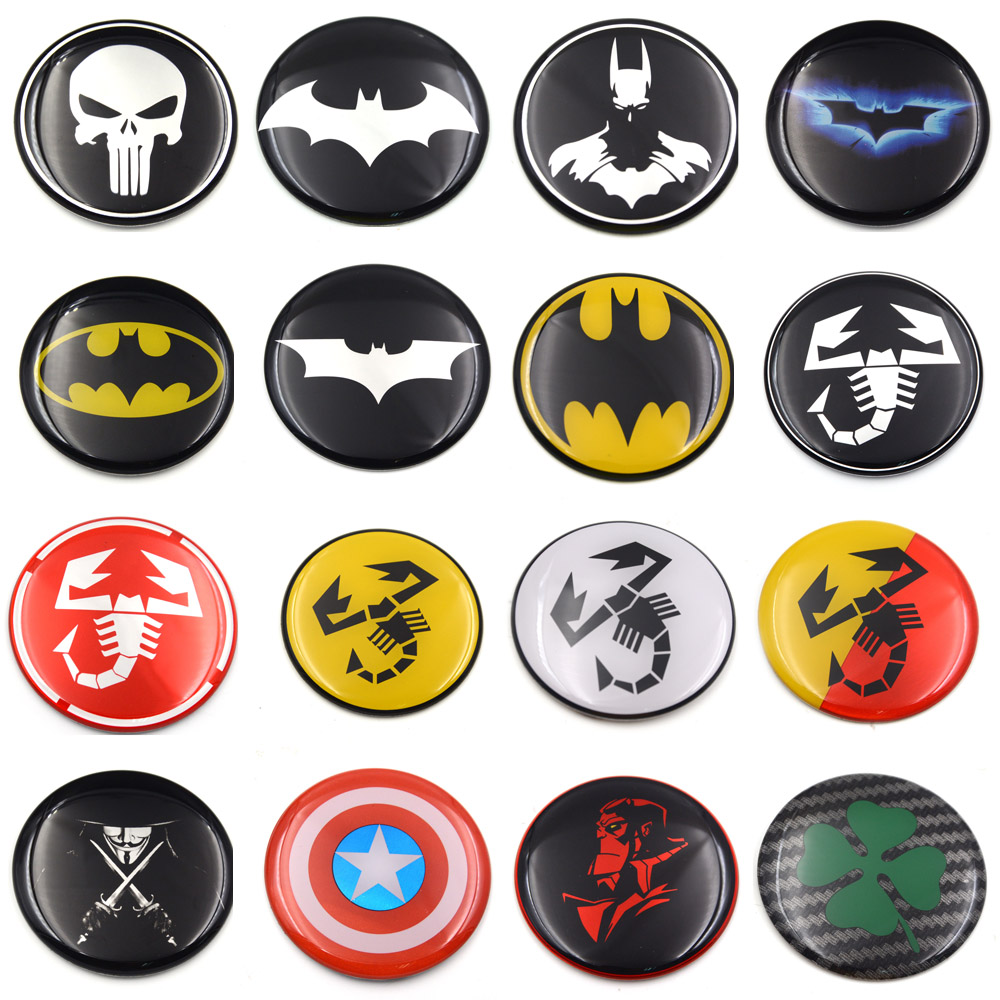 Image 2 - Gzhengtong 1pc 50mm 56mm 60mm 65mm 75mm Batman Vman Puniser Hellboy Scorption Skull Car Wheel Center Caps Sticker Emblem-in Car Stickers from Automobiles & Motorcycles