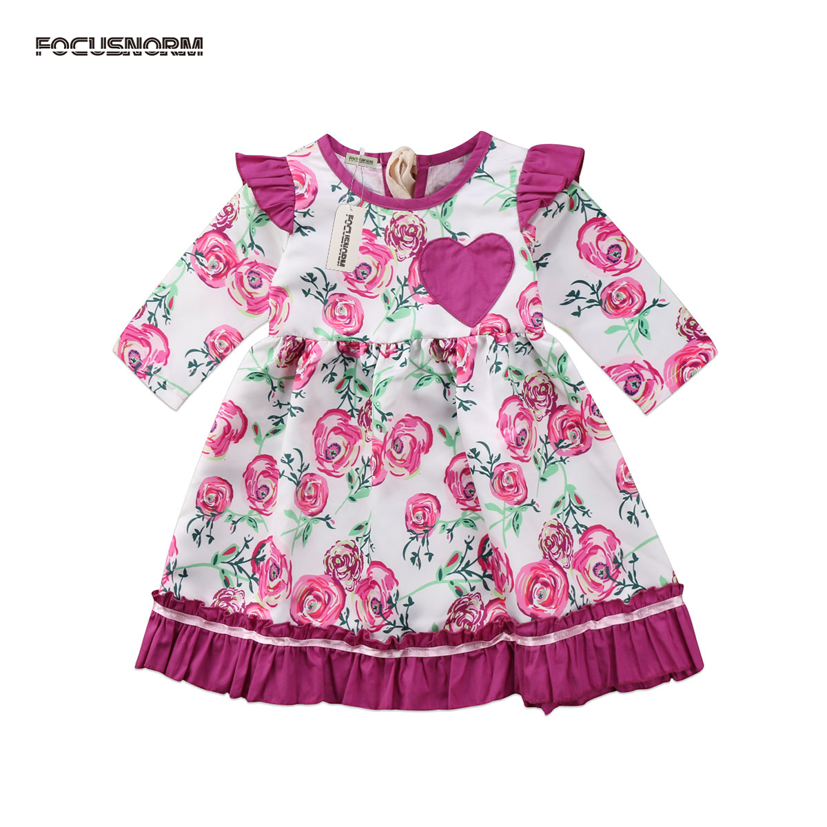 Toddle Baby Girls Flower Ruffles Dress Infant Kids Long Sleeve Princess Party Pageant Dresses Clothes